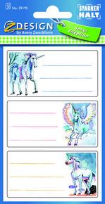 Z-Design 59195 Naklejki na zeszyty i książki - jednorożce 3 arkusze