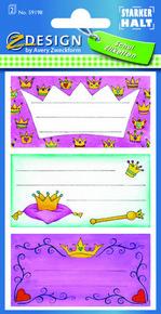 Z-Design 59198 Naklejki na zeszyty - korona księżniczki 2 arkusze