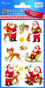 Z-Design 4053 Naklejka bożonarodzeniowa kolorowe Mikołaje 3 arkusze