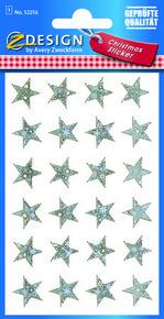 Z-Design 52256 Naklejka bożonarodzeniowa srebrne gwiazdy 1 arkusz