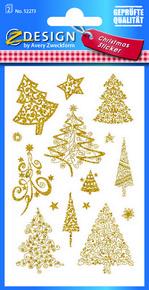 Z-Design 52273 Naklejka bożonarodzeniowa złociste choinki 2 arkusze