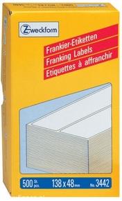3442 Etykiety / Paski Avery Zweckform do frankownic 138 x 48mm, podwójne, 500 et