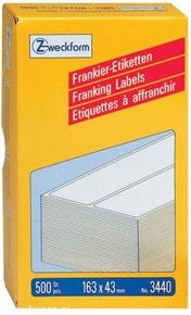 3440 Etykiety /Paski Avery Zweckform do frankownic 163 x 43mm, podwójne, 500 ety