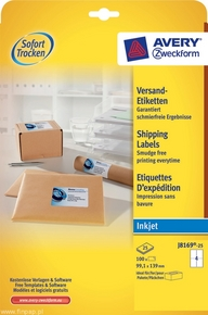 Etykieta adresowa InkJet Avery Zweckform J8169 - 25, 99,1 x 139mm biała, 200 ety