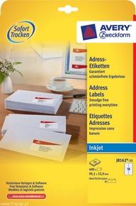 Etykieta adresowa InkJet Avery Zweckform J8162 - 25, 99,1 x 33,9mm biała, 400 et