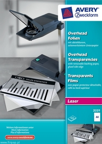 Folia do rzutników 3551 Avery Zweckform, format A4, 100 ark. drukarki laserowe