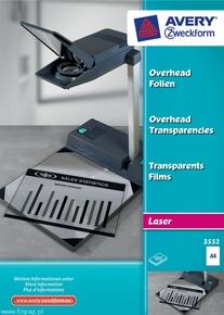 Folia do rzutników 3552 Avery Zweckform, format A4, 100 arkuszy, drukarki laser