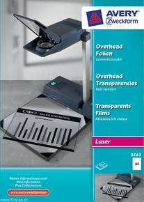 Folia do rzutników 3563 Avery Zweckform, format A4, 100 arkuszy, drukarki lasero