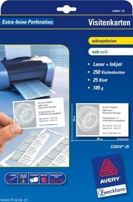 Papier wizytówkowy obustronny C32010-25 85x54, 250 wizytówek, mikroperforacja