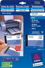 Wizytówki C32015 - 10 85x54 Quick&Clean, 80 wkładów, gładka krawędź, matowe