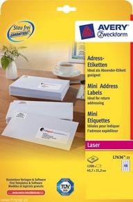 Etykieta adresowa Avery Zweckform L7636 - 25, 45,7 x 21,2mm, biała, 1200 etykiet