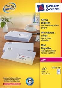 Etykieta adresowa Avery Zweckform L7651 - 100,  38,1 x 21,2mm biała, 6500 etykie
