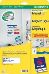J8871-5 Etykiety magnetyczne InkJet Avery Zweckform, 78 x 28mm, 90 etykiet