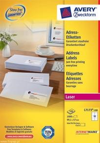 Etykieta adresowa Avery Zweckform L7173 - 100 biała, 99,1 x 57mm, 1000 etykiet