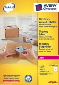 Etykieta wysyłkowa Avery Zweckform L7168 - 100, Blockout Shipping 199,6 x 143,5m