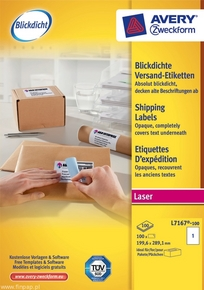 Etykieta wysyłkowa Avery Zweckform L7167 - 100, Blockout Shipping 199,6 x 289,1