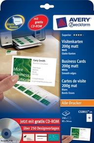 Wizytówki C32011-500, 85x54, 200g/m2, gładkie krawędzie, matowe-białe, 5000 wizy