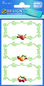 Z-Design 59671 Naklejka spiżarniana - owocowa ramka 3 arkusze, 9 naklejek