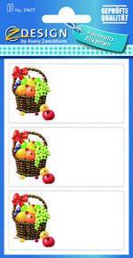 Z-Design 59677 Naklejka spiżarniana - owoce w koszyku 3 arkusze, 9 naklejek